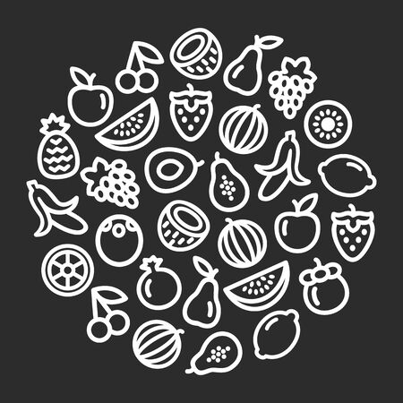 Set of fruits icons illustration on black background in a circular shape 일러스트