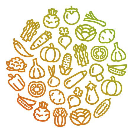 Set of vegetables color icons illustration background in a circular shape Ilustracja