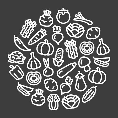 Set of vegetables icons illustration black background in a circular shape Stock Illustratie