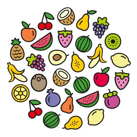 Set of fruits icons color illustration background in a circular shape 일러스트