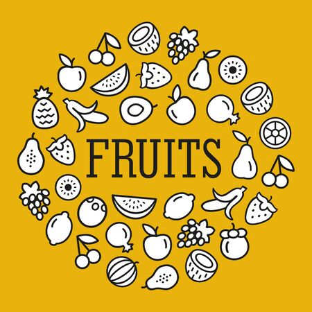 Set of fruits icons color illustration background in a circular shape whith text