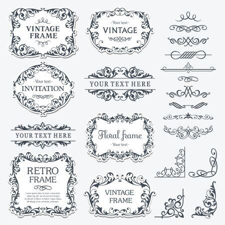 Angolo del bordo fiorito e collezione di cornici. Elementi decorativi per inviti di design, cornici, menu