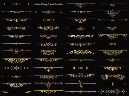 Decorative elements dividers gold set for design invitations, frames, menus, text