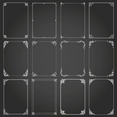 Frames decorative and borders standard rectangle proportions backgrounds vintage design elements set Ilustracje wektorowe