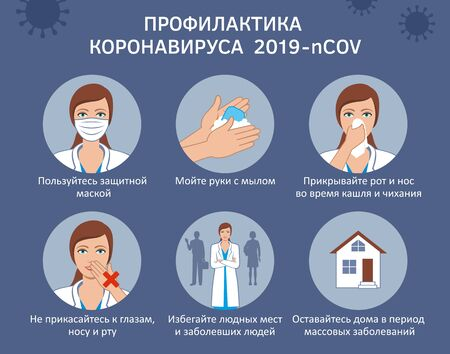 Coronavirus COVID-19 Russian information on preventive measures against the virus illustration Illustration