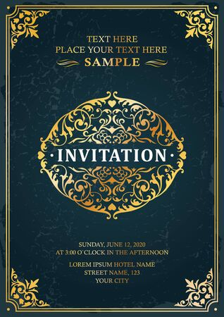 Invitation classic vintage style template card flyer background design vector