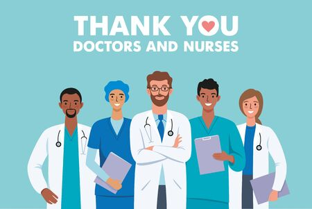 Thank you doctors and nurses cartoon characters medical hospital team fighting the coronavirus illustration