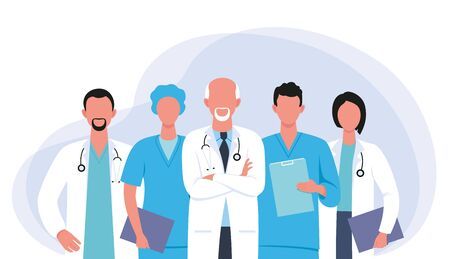 Doctors and nurses cartoon characters medical hospital team fighting the coronavirus illustration