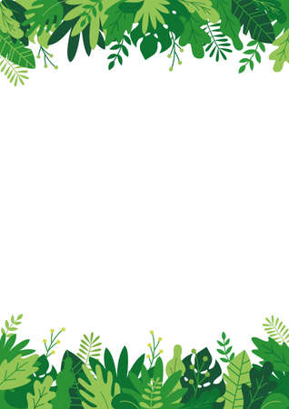 Tropical bushes, plants and herbs rectangle frame in modern flat style. Frame template for cards, posters, banners