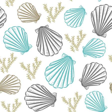 Seashell hand drawn seamless pattern sketch style illustration. Realistic various mollusk. Vetores