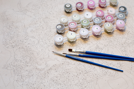 Paints for drawing pictures by numbers 写真素材