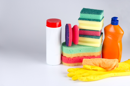 House cleaning product on white table