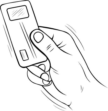 hand drawn sketch doodle vector illustration of a ID card passport or electronic ticket wireless in the hand black and white Ilustracja