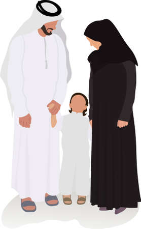 arabic muslim family vector illustration parents and child from United arab emirates