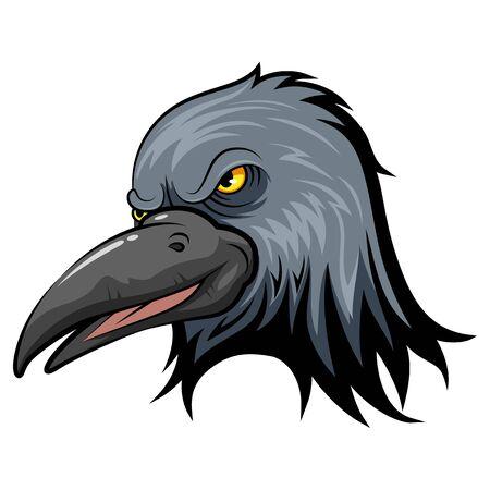 A cartoon mascot Head of an crow