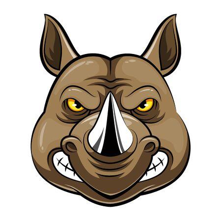 A cartoon mascot Head of an rhino