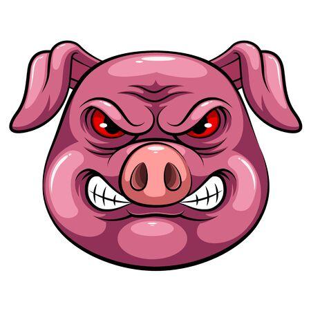 A cartoon mascot Head of an pig