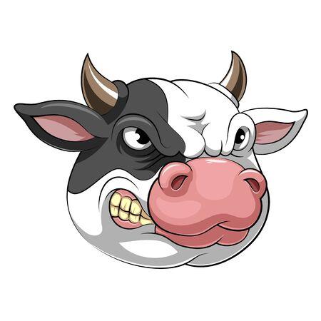 A cartoon mascot Head of an cow
