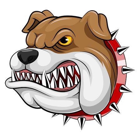 A cartoon mascot Head of an bulldog