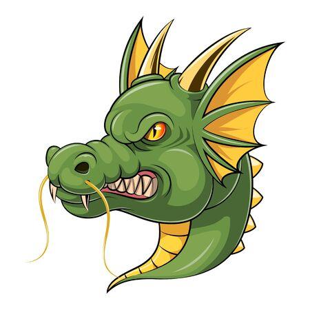 A cartoon green dragon head mascot