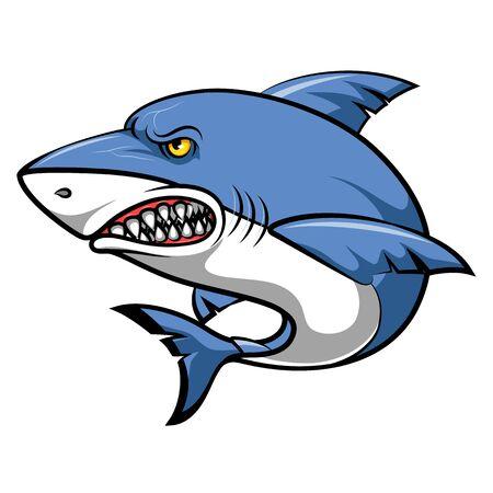 A cartoon angry shark cartoon Векторная Иллюстрация