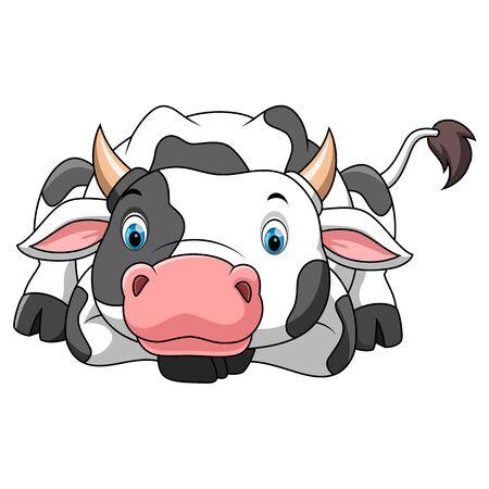illustration of happy little cow cartoon