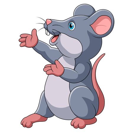illustration of Cute mouse cartoon presenting