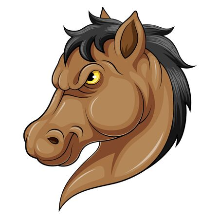 illustration of A carton Mascot Head of an horse
