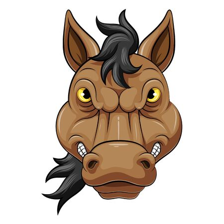 illustration of Mascot Head of an angry horse
