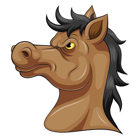illustration of Head of an aggressive horse