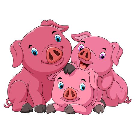 Illustration of Cartoon happy pig mother with piglets
