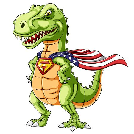 A cartoon superhero dinosaurs mascot 版權商用圖片 - 129532976