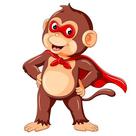 illustration of cute monkey cartoon wearing superhero costume