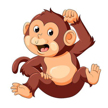 illustration of baby monkey with good posing
