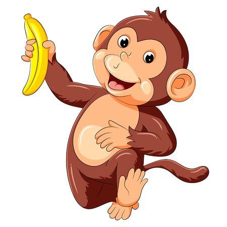 illustration of funny monkey running and holding banana