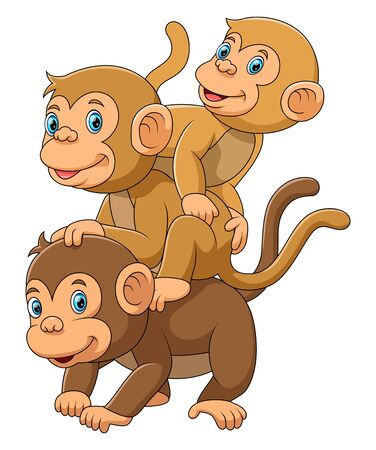 illustration of Happy Monkey family with her two babies