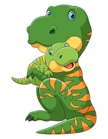 illustration of Mother dinosaur carrying cute baby dinosaur Illusztráció