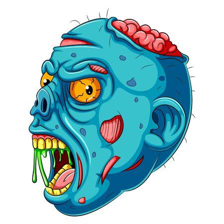 Ilustración de una cabeza de Zombie azul de dibujos animados