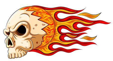 illustration of Flames skull horror evil burn hot