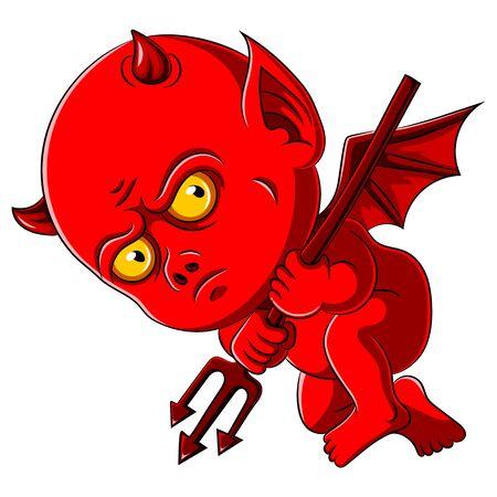 illustrazione di un diavoletto rosso con tridente Vettoriali