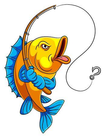 illustrazione di un pesce cartone animato che tiene la canna da pesca Vettoriali
