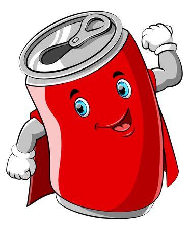 illustration of Red cartoon can wearing superhero costume