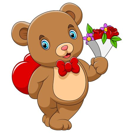 illustration of A cute bear with a red heart and flower on hand