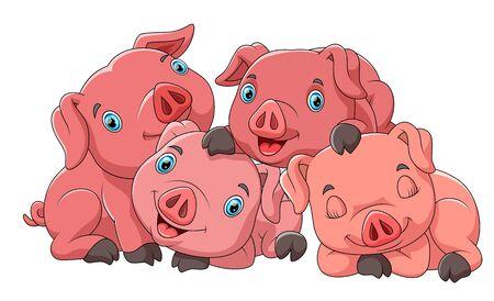 illustration of Cute cartoon family of pig