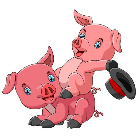illustration of Cute cartoon family of pig playing together