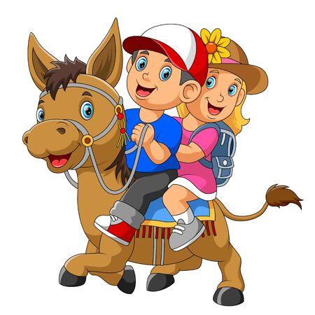 A boy and girl riding horse