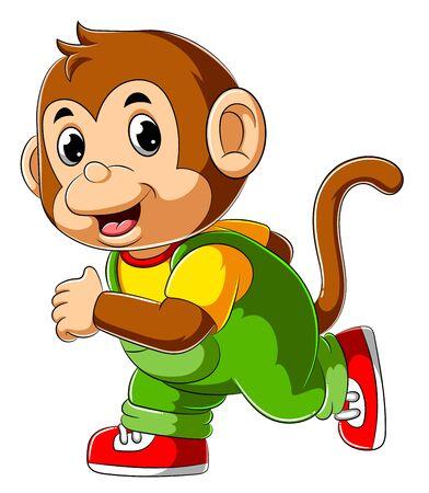 Illustration of Happy monkey cartoon running