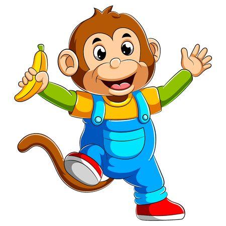 illustration of Cartoon monkey holding banana
