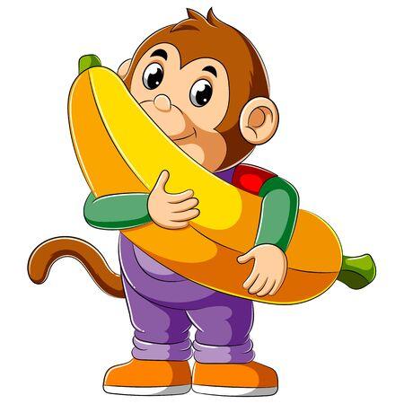 illustration of Cartoon monkey holding big banana