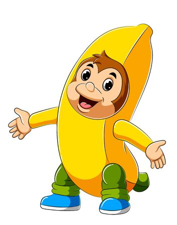 illustration of Cartoon monkey wearing banana costume